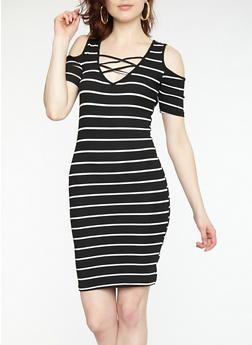 Striped Cold Shoulder Bodycon Dress - BLACK/WHITE - 1094038348704