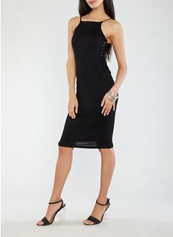 Rib Knit Lace Up Side Tank Dress - BLACK - 1094038348710