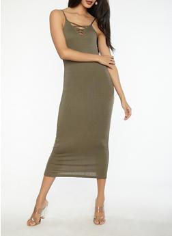 Caged Rib Knit Bodycon Dress - 1094038348713