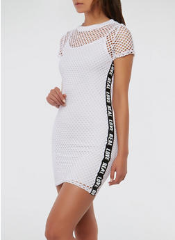Real Love Graphic Tape Fishnet Dress - 1094038348779