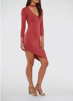 Asymmetrical Hem Choker Neck Dress - 1094038348805