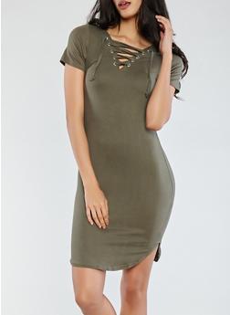 Lace Up Soft Knit Dress - 1094038348809