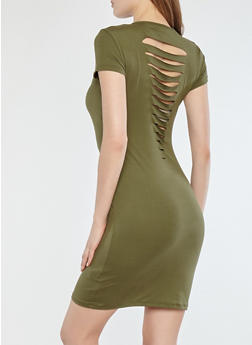 Soft Knit Slashed Back Dress - 1094038348811