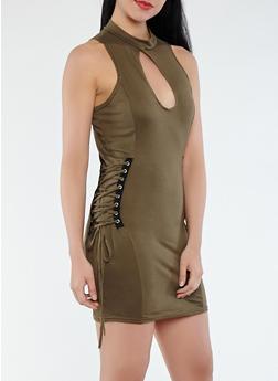 Soft Knit Lace Up Detail Dress - 1094038348812