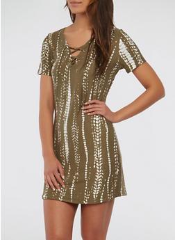 Printed Lace Up T Shirt Dress - 1094038348851