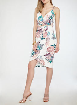 Belted Floral Faux Wrap Dress - 1094038348882