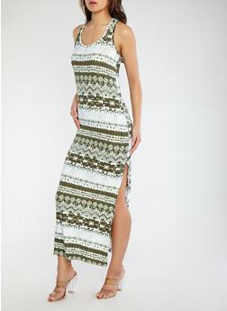 Printed Racerback Tank Dress - 1094038348914