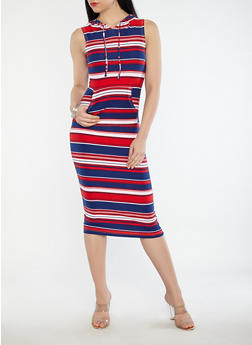 Striped Hooded Maxi Dress - 1094038348931