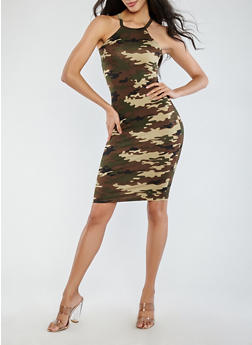 Soft Knit Camouflage Tank Dress - 1094038348942