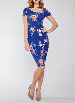 Soft Knit Floral Bodycon Dress - 1094038348954