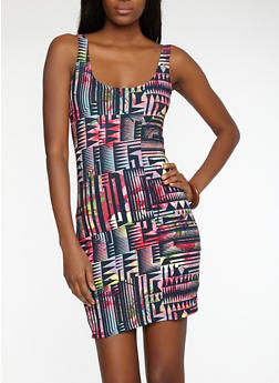 Geometric Print Bodycon Dress - 1094038348958
