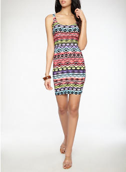 Aztec Print Tank Dress - 1094038348959