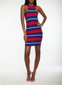 Striped Racerback Bodycon Dress - 1094038348966