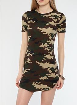 Soft Knit Camo Print T Shirt Dress - 1094038348968