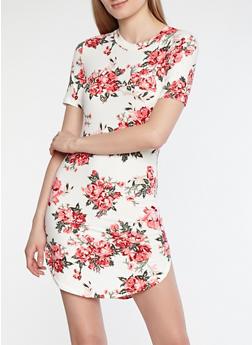 Soft Knit Floral T Shirt Dress - 1094038348969