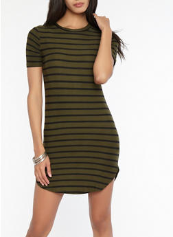Striped T Shirt Dress - 1094038348970
