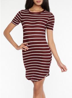 Striped T Shirt Dress - 1094038348970