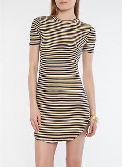 Soft Knit Stripe T Shirt Dress - 1094038348971