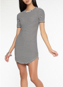 Striped T Shirt Dress - 1094038348972