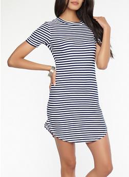 Striped T Shirt Dress - 1094038348972