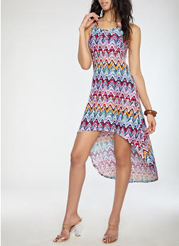 Printed High Low Tank Dress - 1094038348983