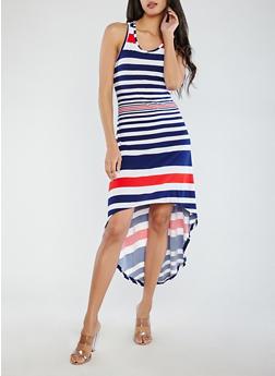 Striped High Low Dress - 1094038348986