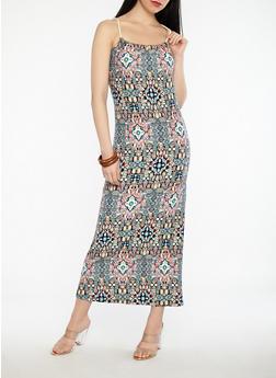 Printed Rope Detail Maxi Dress - 1094038348991