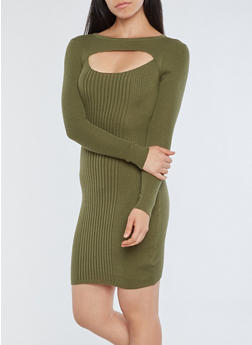 Ribbed Knit Cutout Sweater Dress - OLIVE - 1094051060001