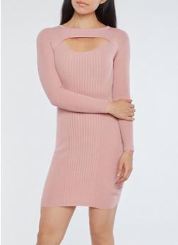 Ribbed Knit Cutout Sweater Dress - MAUVE - 1094051060001
