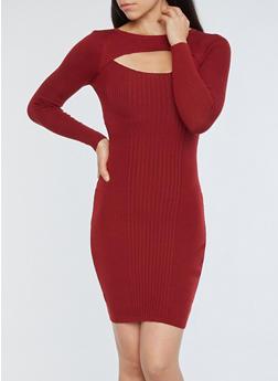 Ribbed Knit Cutout Sweater Dress - 1094051060001