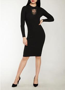 Lace Up Keyhole Sweater Dress - 1094051060005