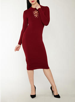 Lace Up Keyhole Sweater Dress - 1094051060005