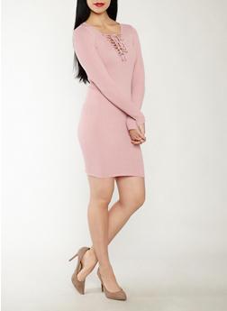 Lace Up Sweater Dress - 1094051060006