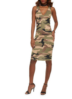 Zip Front Sleeveless Camo Print Bodycon Dress - 1094051062963