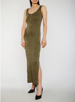 Solid Mid Zip Maxi Dress - 1094051062983