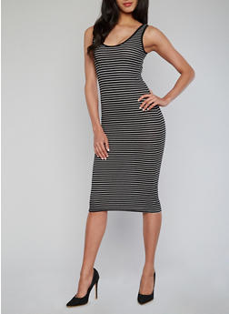 Striped Rib Knit Tank Dress - 1094051062986