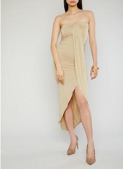 Mid Length Faux Wrap Tube Dress - 1094051062988