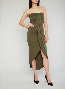 Mid Length Faux Wrap Tube Dress - OLIVE - 1094051062988