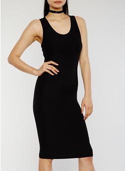 Soft Knit Midi Bodycon Tank Dress - BLACK - 1094051062989