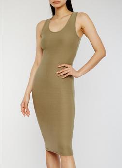 Soft Knit Midi Bodycon Tank Dress - OLIVE - 1094051062989