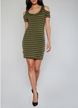 Stripped Cold Shoulder Bodycon Dress - 1094051063032