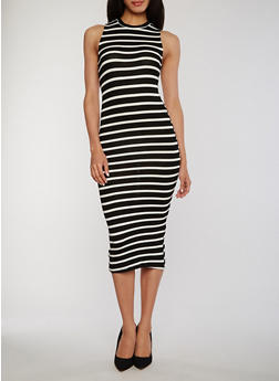 Sleeveless Striped Tank Dress - 1094051063036