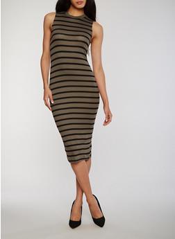 Sleeveless Striped Tank Dress - OLIVE - 1094051063036
