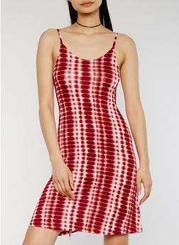 Sleeveless Tie Dye Slip Dress - BURGUNDY - 1094051063050