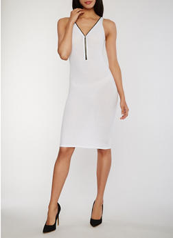 Zip Front Rib Knit Tank Dress with V Back - WHITE - 1094051063051