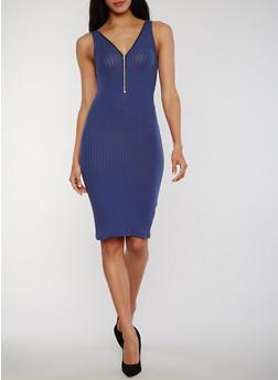Zip Front Rib Knit Tank Dress with V Back - 1094051063051