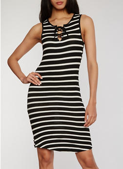 Striped Lace Up Bodycon Dress - 1094051063052