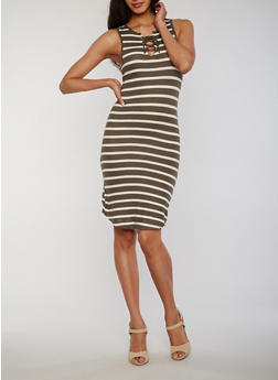 Striped Lace Up Bodycon Dress - OLIVE - 1094051063052
