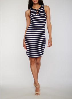 Striped Lace Up Bodycon Dress - NAVY - 1094051063052