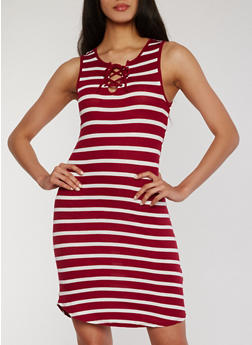 Striped Lace Up Bodycon Dress - WINE - 1094051063052